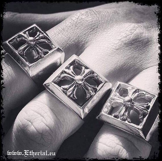 Etherial Jewelry - Rock Chic Talisman Luxury Biker Custom Handmade Artisan Pure Sterling Silver .925 Handcrafted Bespoke Cross Badass Ring