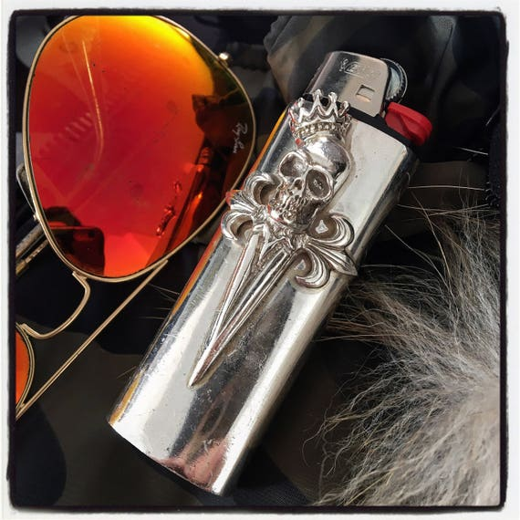 Etherial Jewelry - Rock Chic Talisman Luxury Biker Custom Handmade Artisan Pure Sterling Silver .925 Custom Skull Bic Large Lighter Case