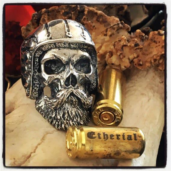 Etherial Jewelry - Rock Chic Talisman Luxury Biker Custom Handmade Artisan Pure Sterling Silver .925 Bespoke Bearded Skull Badass Biker Ring