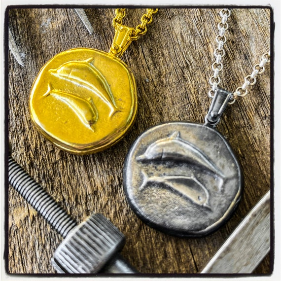 Stater of Thera Ancient Greek Coin Necklace Ancient Greek Coin Pendant Antique Seal Necklace Dolphin Pendant Dolphin Necklace