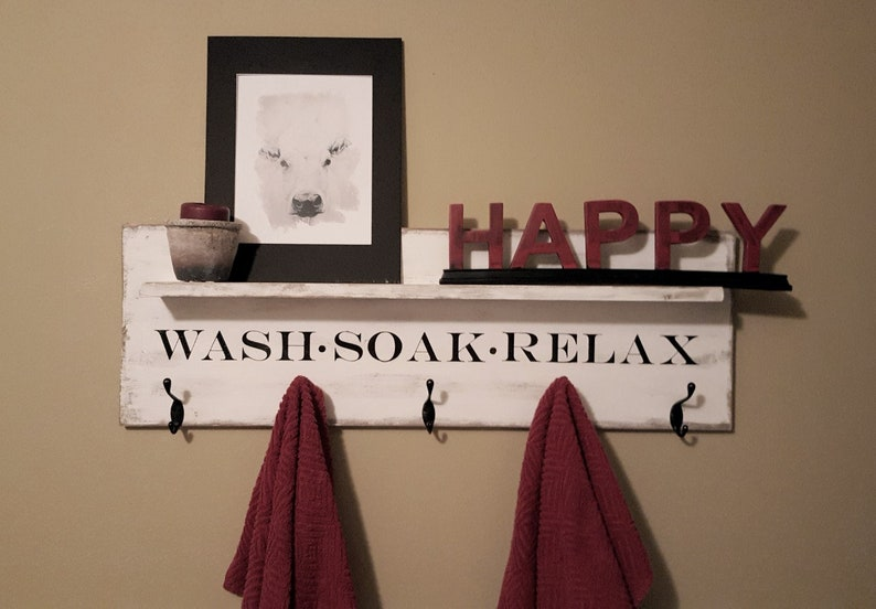 . Wall mounted bathroom towel rack  Farmhouse Towel hooks  Farmhouse Decor   Hooks  Bathroom quote