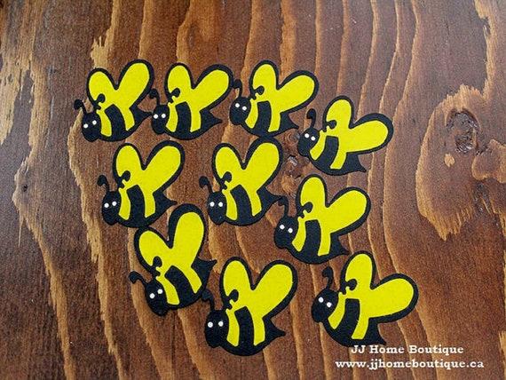 Yellow Black Bees, Bee Birthday party decor confetti, table decor,  scrapbook embellishments, baby shower decor,Birthday party