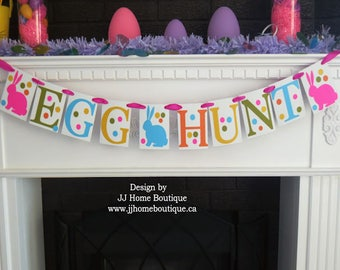 Egg Hunt Easter Banner,  Easter decoration sign, Spring banner, Happy Easter sign, Easter photo prop