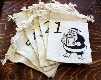 Advent Calendar bags Santas Countdown christmas  100% cotton set of 24