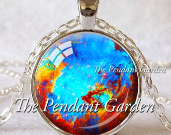 TURQUOISE NEBULA Pendant Aqua Red Yellow Astronomy Pendant Science Jewelry Astronomer Gift Space Jewelry Nebula Jewelry