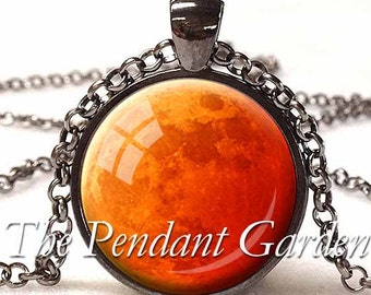 HARVEST MOON PENDANT Orange Full Moon Necklace Halloween Moon Eclipse Moon Orange Red and Silver Planet Jewelry Blood Moon Astronomy Gift