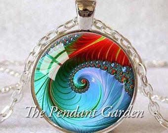RAINBOW FRACTAL PENDANT Sacred Geometry Pendant Fibonacci Spiral Jewelry Light Blue Green Red Fractal Art