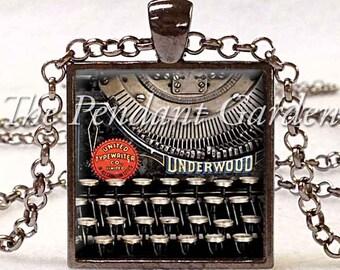 VINTAGE TYPEWRITER PENDANT Writer Gift for Writer Typewriter Jewelry Writer's Necklace Black Red Gray Vintage Keyboard Jewelry Writer's Gift