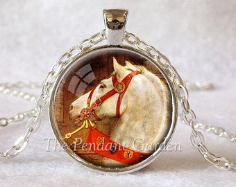 WHITE HORSE PENDANT Horse Necklace Medieval Jewelry Equestrian Gift for Horse Lover Gift Equestrian Jewelry Red White Brown