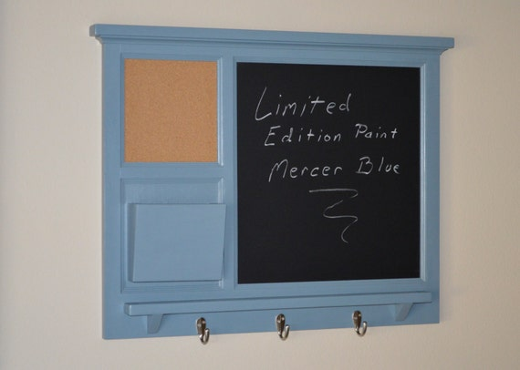 Wall Mail Organizer with bulletin board and chalkboard, mail cubby, key or hat hooks - Storage and Organization - Home Decor