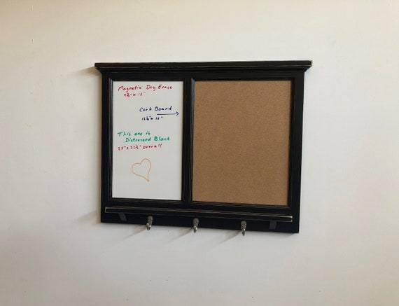 MAGNETIC White Board & Corkboard Organizer - Key / Coat / Hat rack - shabby chic - Home Decor - Furniture Quality