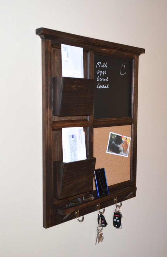 Walnut stained Chalkboard & Cork board with Two Mail Organizer letter holder  Key / Coat / Hat rack - RusTic - Home Decor