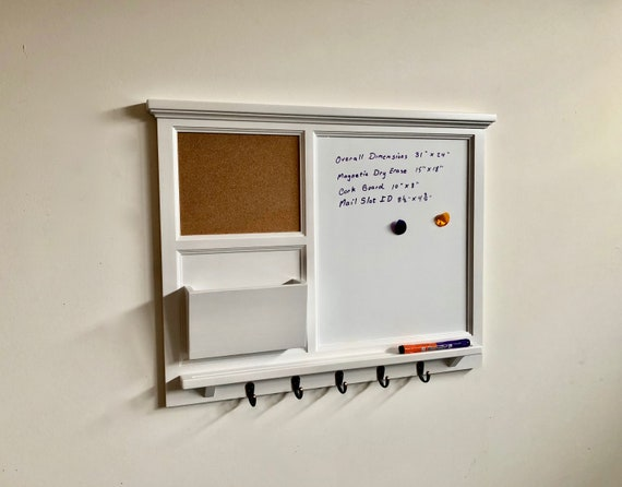 """31"""" x 24"""" Large Magnetic Dry Erase plus cork board with Mail Organizer letter holder  Key / Coat / Hat hooks - Home Decor- Wall Organizer"""
