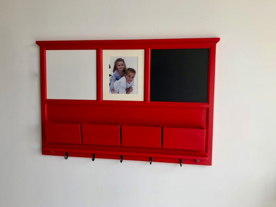 Wall Organizer with Magnetic Dry Erase, Magnetic Chalkboard, 8x10 photo area, mail slots, key hooks
