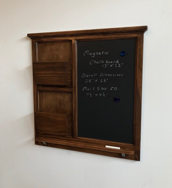 "28"" x 28"" Wall Organizer MAGNETIC Chalk board & 2 Mail slot letter holder  Key / Coat / Hat hooks - Home Decor- Wall Organizer"
