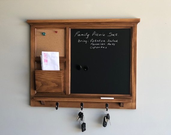 MAGNETIC Chalkboard Wall Organizer with cork board, letter holder  Key / Coat / Hat rack - RusTic - Home Decor