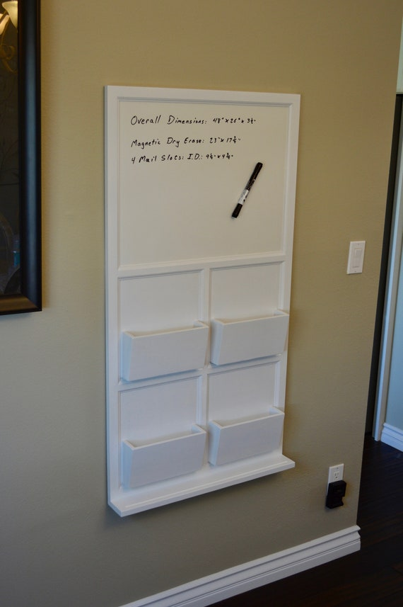 Wall mail organizer with Magnetic Dry Erase