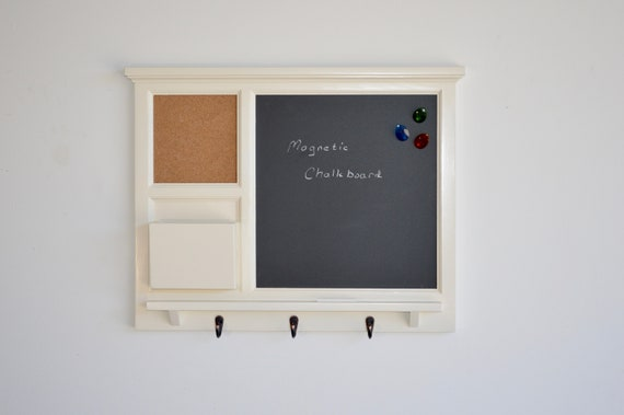 MAGNETIC Chalkboard Organizer with cork board, letter holder  Key / Coat / Hat rack - RusTic - Home Decor