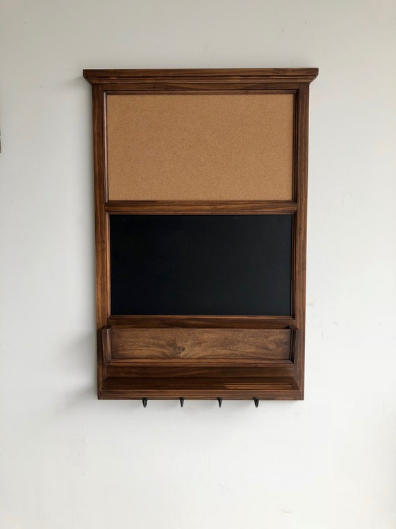 """Wall Organizer - 24"""" x 35"""" cork and chalk boards with mail slot and shelf - Walnut stained"""