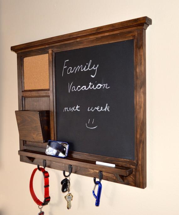 Walnut stained Chalkboard & corkboard Wall Mail Organizer letter holder