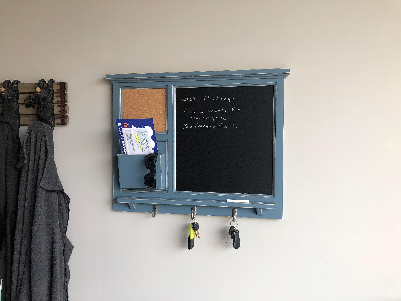 w//Cork Bulletin Board and Key Holder All Wood Cabinet Mail Organizer