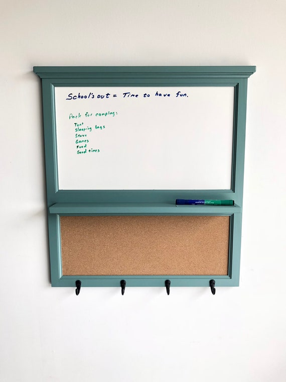 Whiteboard and Cork Organizer Key / Coat / Hat rack - Home Decor