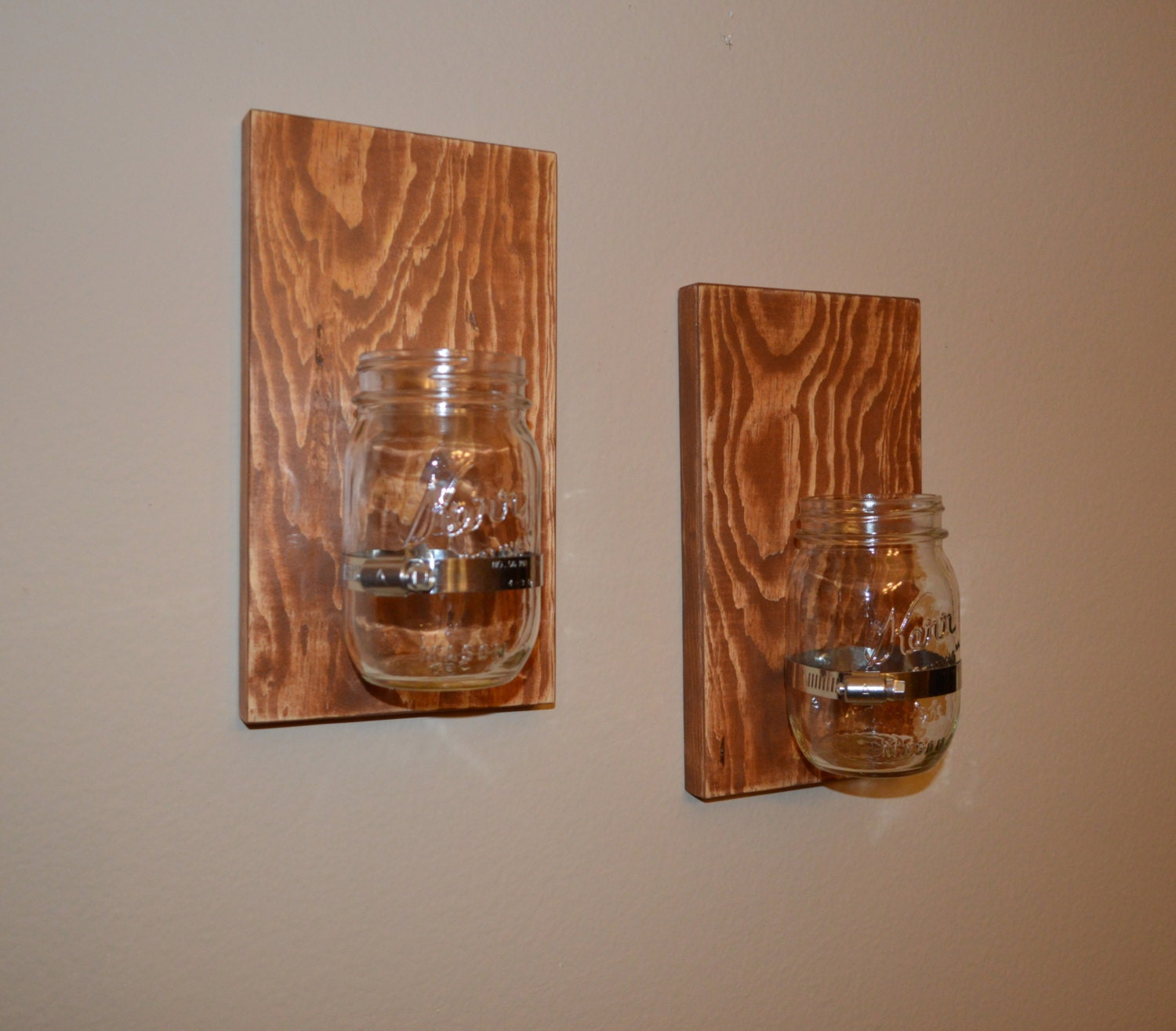 Set Of 2 Shabby Chic Rustic Style Handcrafted Wooden Wall Sconce For