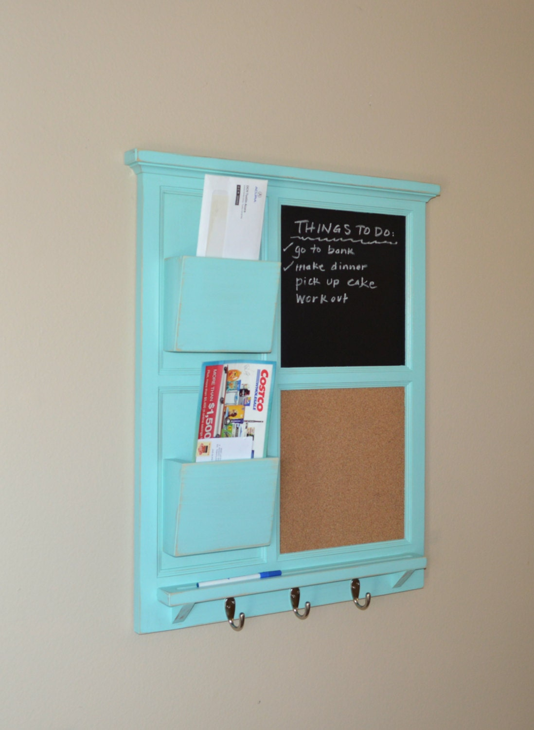 Two Mail Organizer, Jamaican Sea Chalkboard & Cork board with letter ...