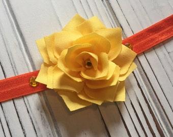 Autumn Orange & Yellow Lotus Flower Headband - 18 month to adult size