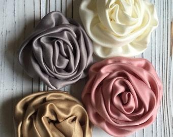Silk Rose Flower Hair Clip