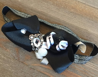 Deluxe Black Silver White Layered Hair Bow Elastic Headband with Rhinestones and Buttons
