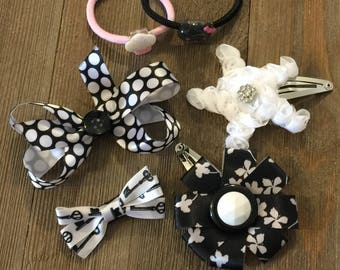 Black White Pink Hair Bow Star Flower Cupcake Cat Key Button Rhinestone Clip Elastic Pony Tie Set of 6