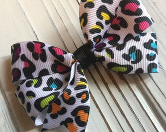 Rainbow Leopard Cheetah Spot Hair Bow Clip