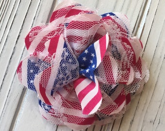 Red White Blue Patriotic American Flag Lace Hair Flower Clip