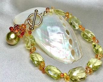 Lemon Quartz, Songea Sapphire and Tahitian Pearl Bracelet