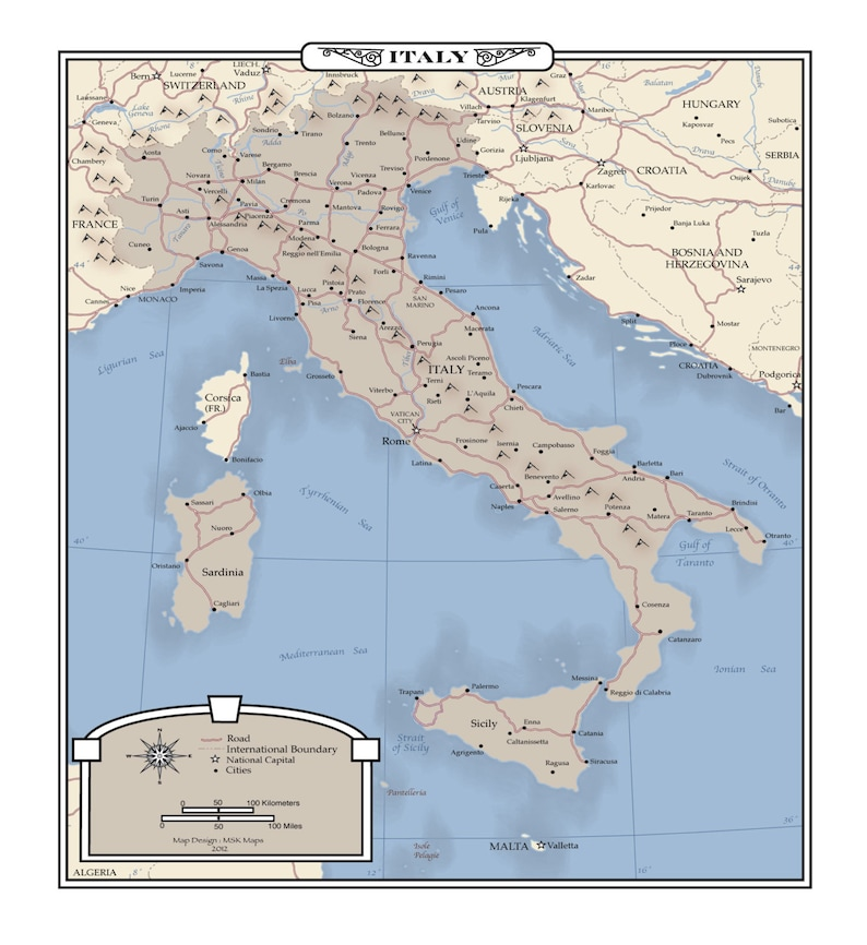 Map Of Italy Poster Size
