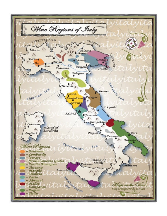 Wine Regions Italy Map.Wine Regions Of Italy Etsy