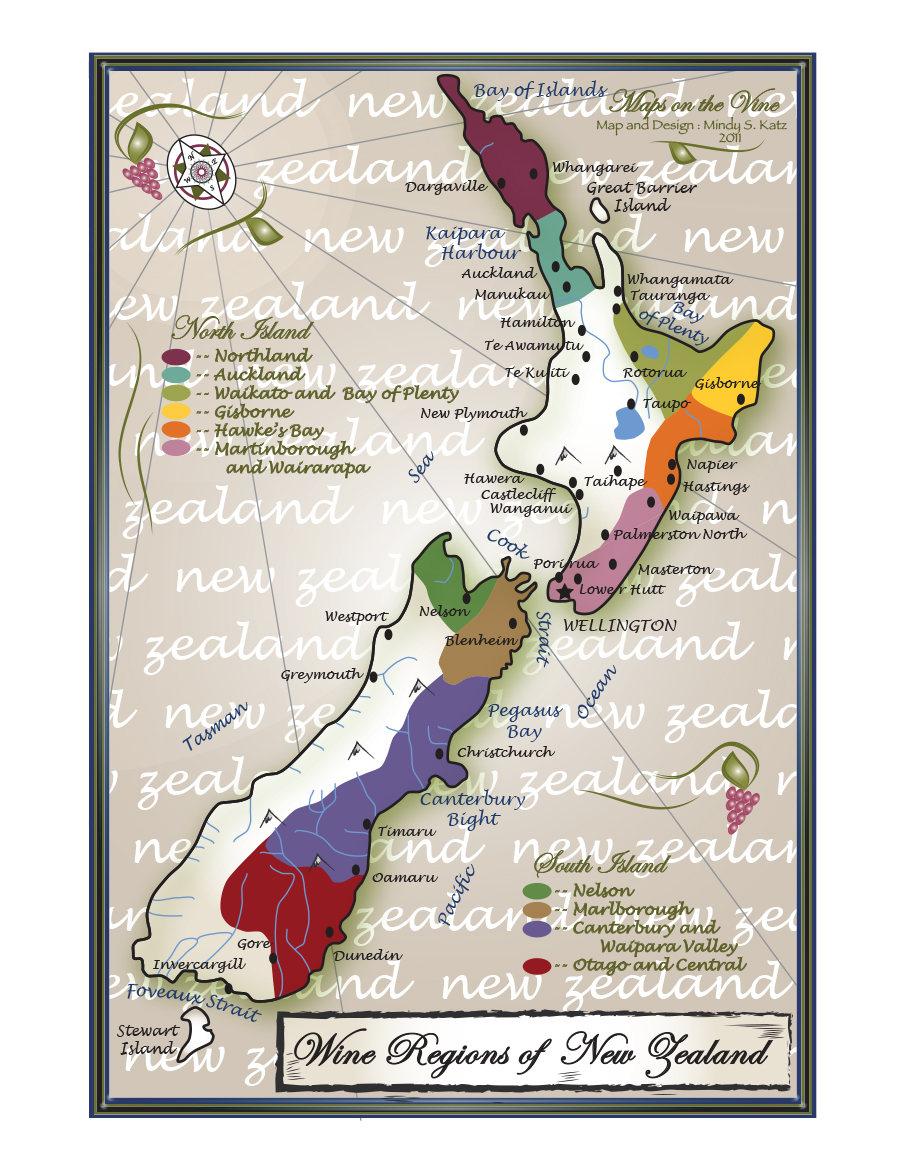 Hamilton Map New Zealand.Wine Regions Of New Zealand