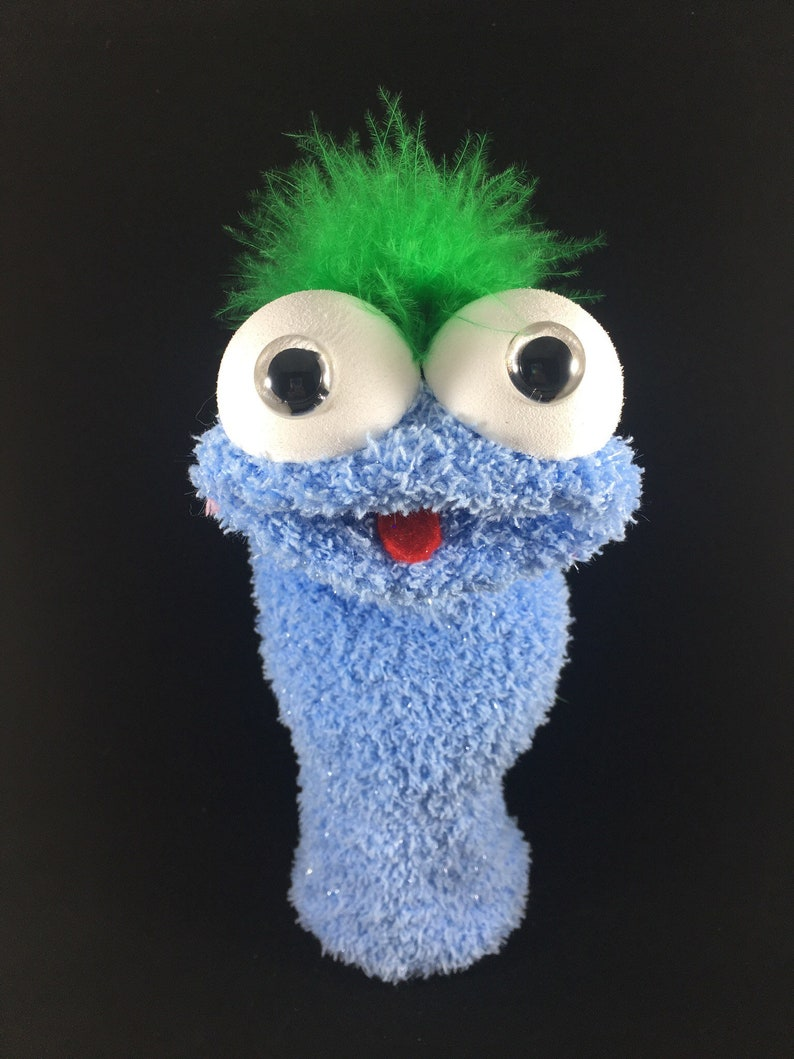 Blue Shimmer Sock Puppet Green Feathers image 0