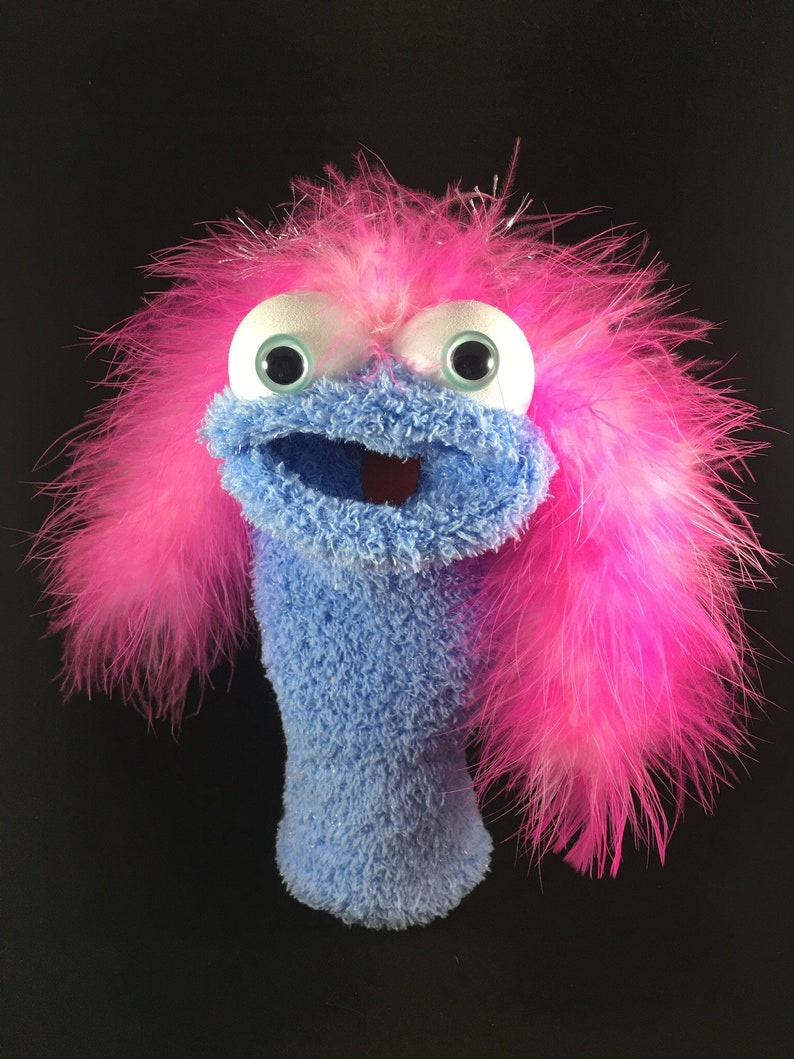 Blue Shimmer Sock Puppet Pink and White Mixed Feathers image 0