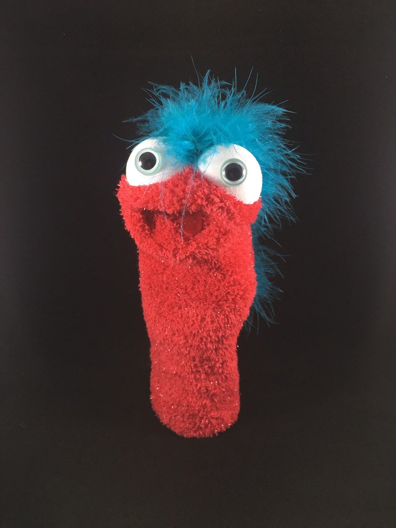 Red Shimmer Sock Puppet Teal Feathers image 0