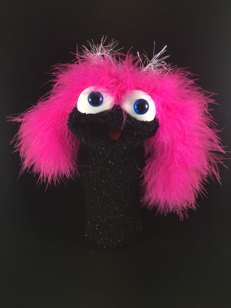 Black Shimmer Sock Puppet Bright Pink Feathers image 0