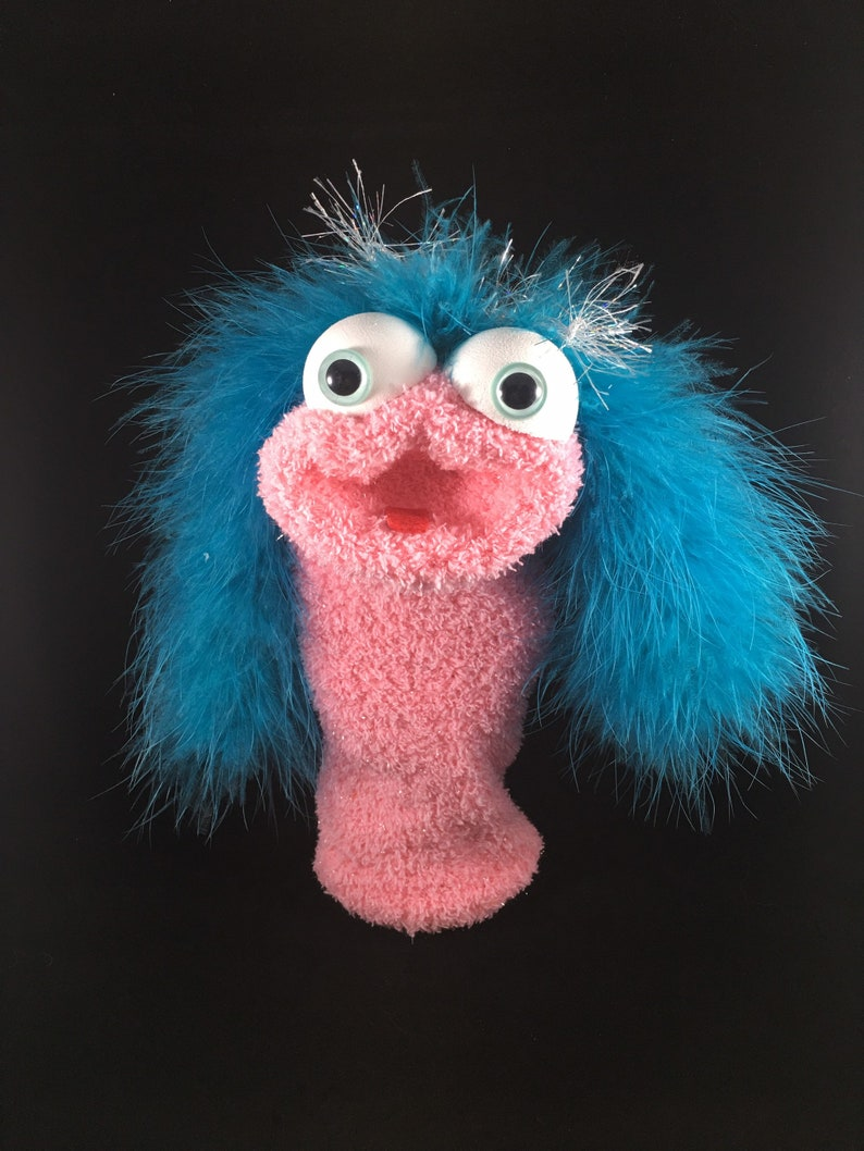 Pink Shimmer Sock Puppet Teal Feathers image 0