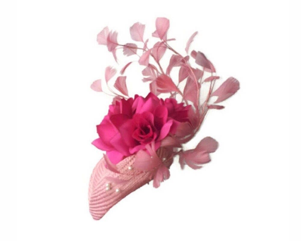 Pink straw fascinator // Silk Fabric flowers // Pink feather