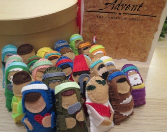 Beloved Bible Characters 25 felt Jesse Tree Ornaments for Advent & Christmas