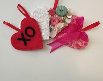 Christmas Heart Ornaments - Set of 4