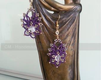 Earrings pierced lace tatting, 15 Toho seed beads, gold, Swarovski Crystal