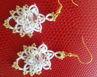 Delicate chandelier tatted earrings with Toho rocailles and Swarovski crystals