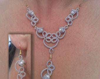 Necklace and Earrings lace tatting with freshwater pearls and 24 k gold plated elements