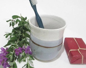 Toothbrush Holder, Bathroom Organizer, Ceramic Bathroom Caddy, Pencil Holder, Handmade Grey and White Pottery